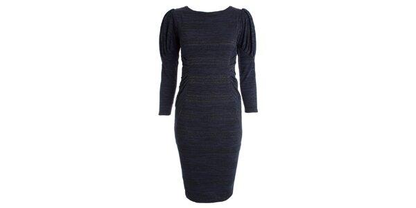 Dámske tmavo modré šaty s naberanými rukávmi JDC London