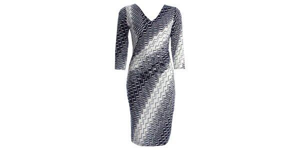 Dámske šaty s modrokrémovým vzorom JDC London