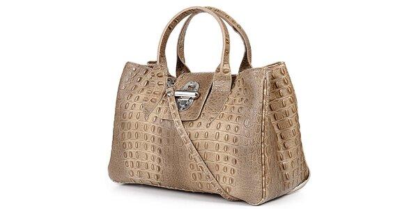 Dámska šedohnedá kabelka s krokodýlim vzorom Giulia