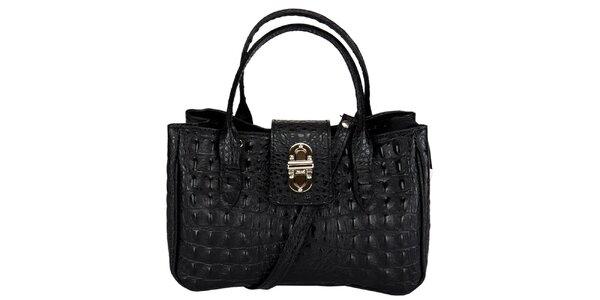 Dámska malá čierna kabelka s krokodílim vzorom Giulia