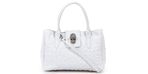 Dámska malá biela kabelka s krokodílim vzorom Giulia