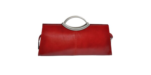 Dámska červená kabelka s kovovými ušami Giulia