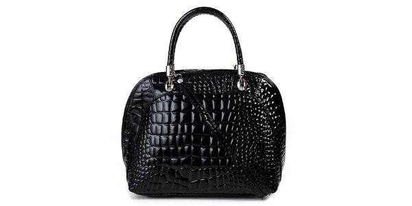 Dámska čierna kabelka s motívom krokodílej kože Giulia