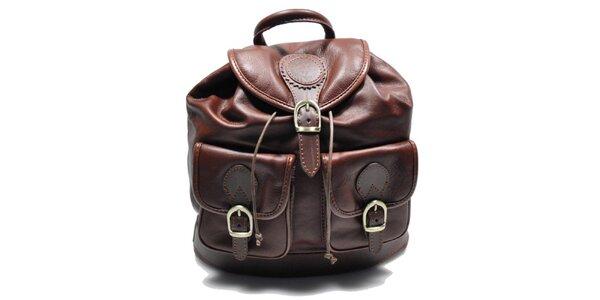 Dámsky hnedý kožený ruksak Giulia