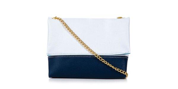Dámska modro-biela kabelka so zlatou retiazkou Giulia