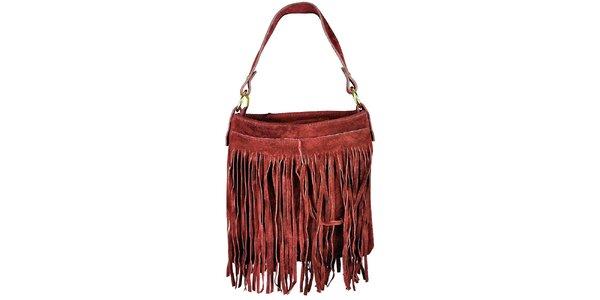 Dámska červená semišová kabelka so strapcami Giulia