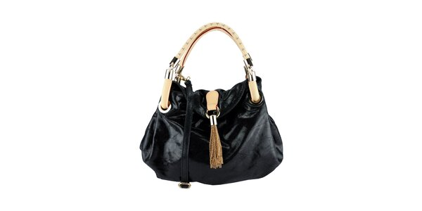 Dámska čierna kabelka s ozdobnými ušami Giulia