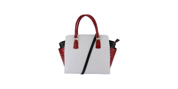 Dámska biela kabelka s červenými ušami Giulia