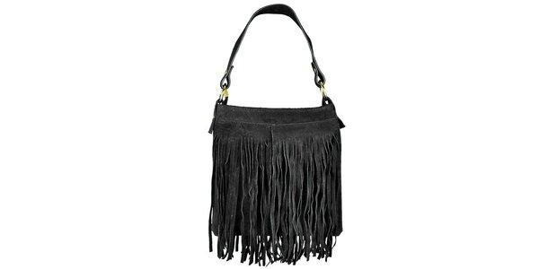 Dámska čierna semišová kabelka so strapcami Giulia