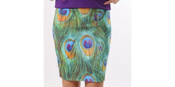 Dámska sukňa s potlačou pávích pier Santa Barbara