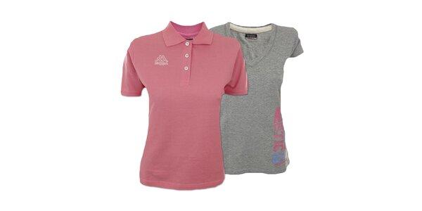 Set dvoch dámskych tričiek Kappa - šedé, ružové