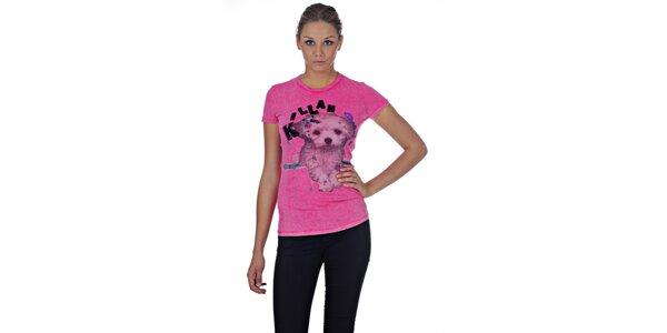 Dámske ružové tričko Killah s potlačou