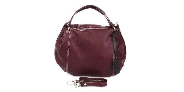 Dámska tmavo fialová kožená kabelka Puntotres