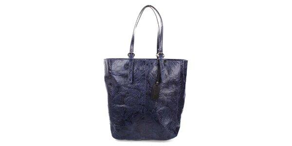 Dámska modrá shopper kabelka s reliéfnym zdobením Puntotres