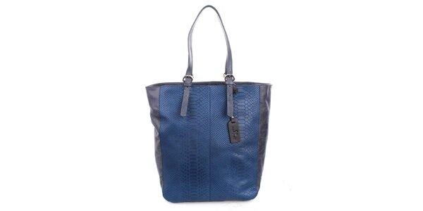 Dámska modrá shopper kabelka s matným motívom hadej kože Puntotres