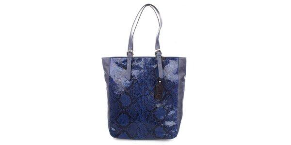 Dámska modrá shopper kabelka s lesklým motívom hadej kože Puntotres