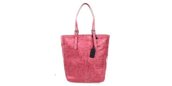 Dámska fuchsiová shopper kabelka s reliéfnym zdobením Puntotres