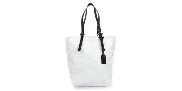 Dámska biela shopper kabelka s reliéfnym zdobením Puntotres