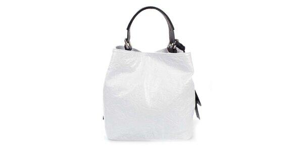 Dámska biela kožená kabelka s jemným vzorom Puntotres