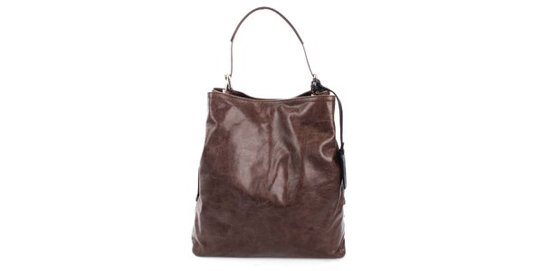 Dámska tmavo hnedá kožená kabelka Puntotres