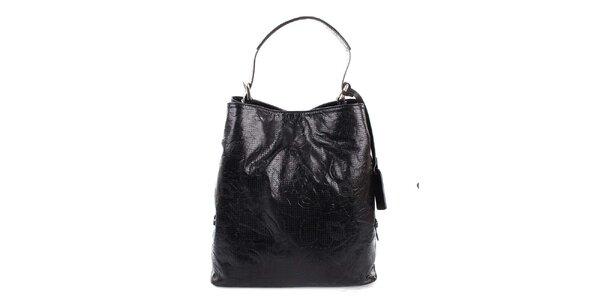 Dámska čierna kožená kabelka s jemným vzorom Puntotres