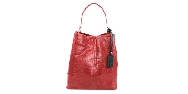 Dámska červená kožená kabelka s jemným vzorom Puntotres
