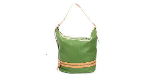 Dámska zelená kožená kabelka Puntotres