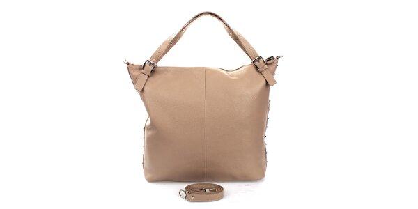 Dámska béžová kabelka s cvokmi Puntotres