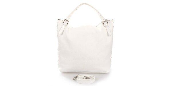 Dámska biela kabelka s cvočkami Puntotres