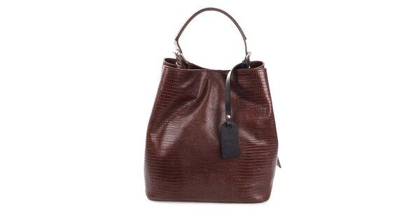 Dámska tmavo hnedá kožená kabelka s jemným vzorom Puntotres