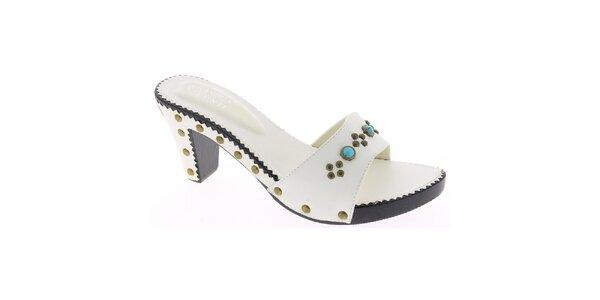 Dámske biele sandále s tyrkysovými kamienkami Andrea Conti