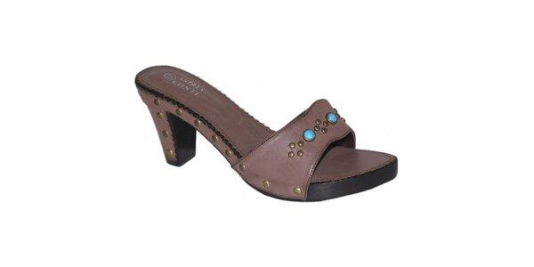 Dámske tmavo hnedé sandále s tyrkysovými kamienkami Andrea Conti