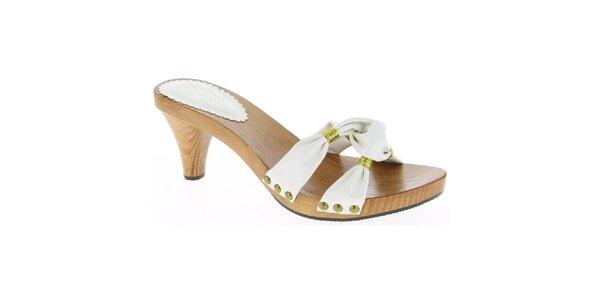 Dámske biele sandále so zlatou niťou Andrea Conti