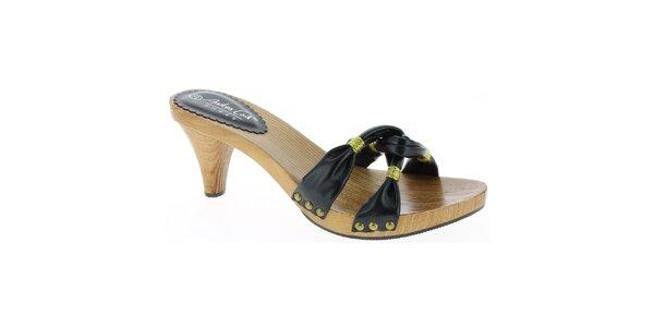 Dámske čierne sandále so zlatou niťou Andrea Conti