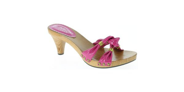 Dámske ružové sandále so zlatou niťou Andrea Conti