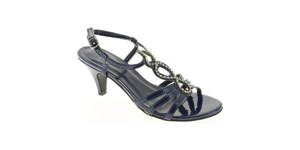 Dámske tmavo modré topánočky s aplikáciou Andrea Conti