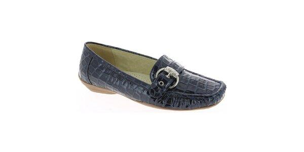 15c6aa67d9e7 Dámske tmavo modré mokasíny so vzorom krokodílej kože Andrea Conti