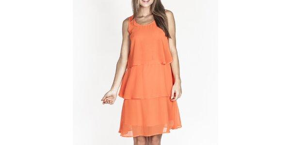 Dámske oranžové šaty s volánmi Tantra