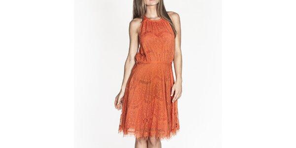 Dámske oranžové čipkové šaty Tantra