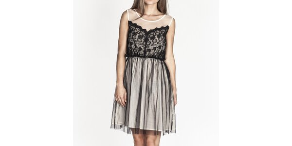 Dámske biele šaty s čiernou čipkou Tantra