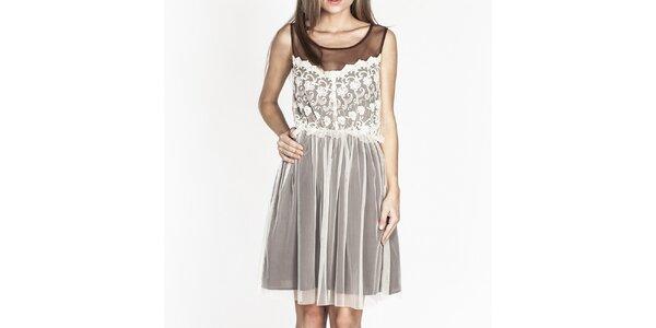 Dámske hnedé šaty s bielou čipkou Tantra
