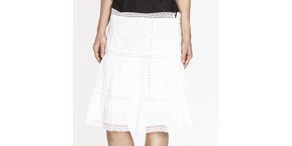 Dámska biela sukňa s perforáciou Tantra