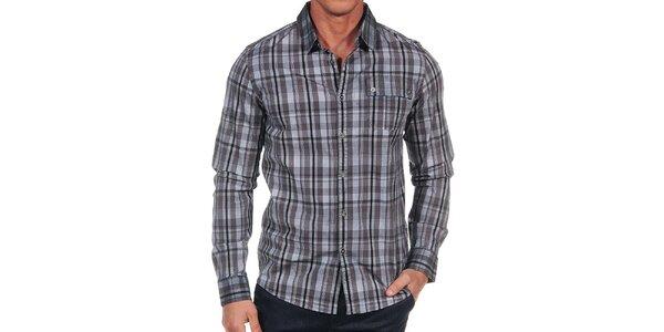 Pánska šedá kockovaná košeľa Calvin Klein