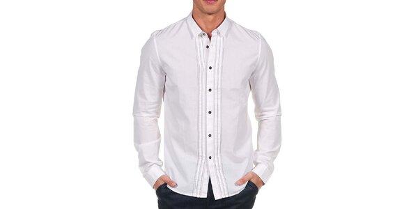 Pánska biela košeľa s tenkým prúžkom Calvin Klein