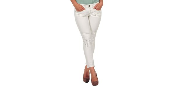 Dámske krémovo biele džínsy s gombíkmi Calvin Klein