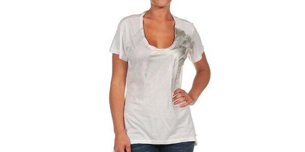 Dámske krémovo biele tričko s potlačou Calvin Klein