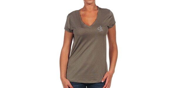 Dámske hnedé tričko s logom Calvin Klein