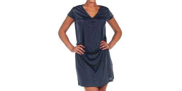 Dámske tmavo modré šaty s véčkovým výstrihom Calvin Klein