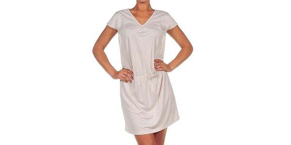 Dámske krémovo biele šaty s véčkovým výstrihom Calvin Klein