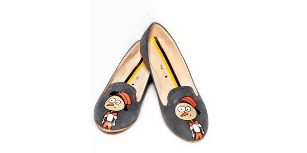 Dámske šedé loafers s Pinokiom The Bees
